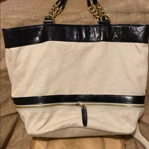 J. Crew 👜 Leather and Cotton tote bag 👜